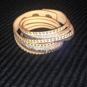 Crystal Studded Bracelet in Nude